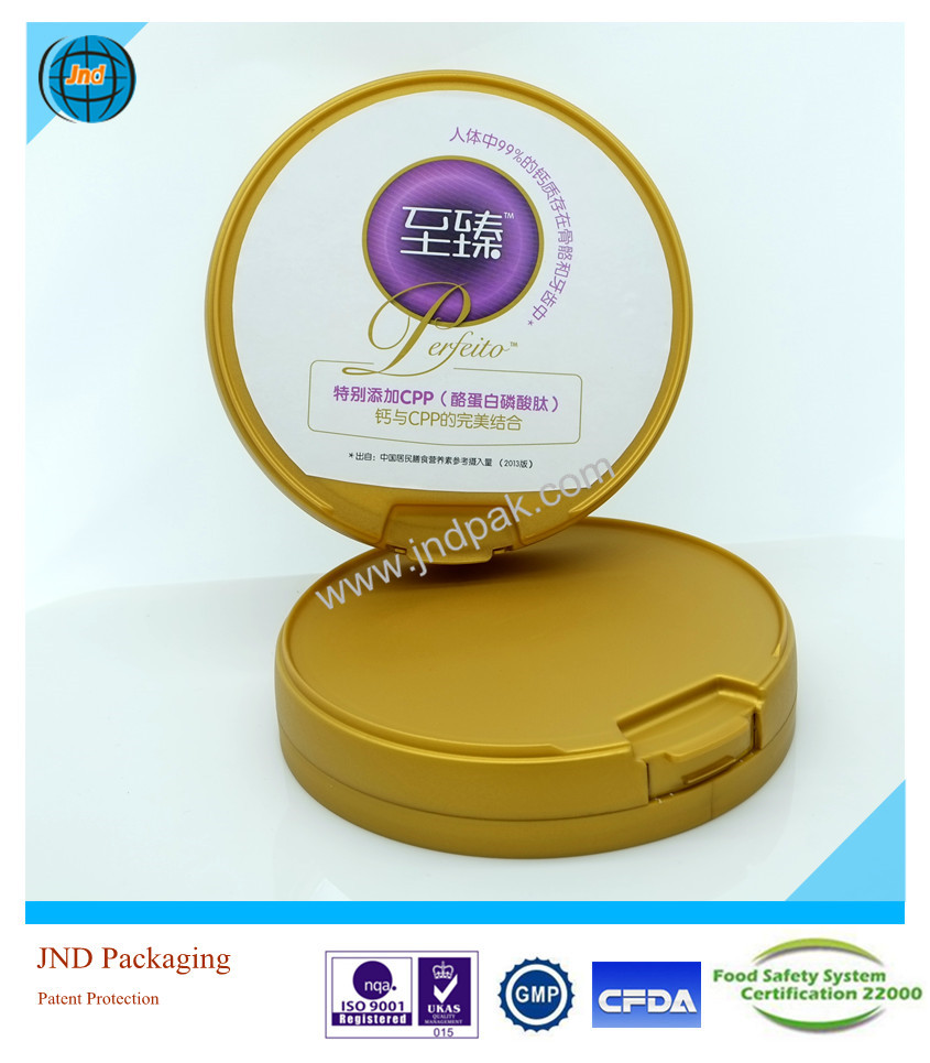 JND tamper evident moisture free round plastic food can with lid with sticks with FSSC22000 certified