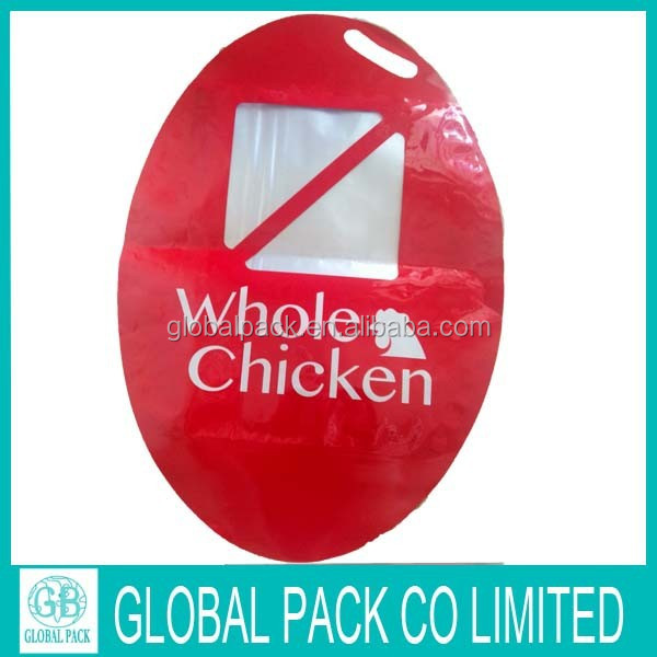 High quality packaging for whole chicken plastic bag with window