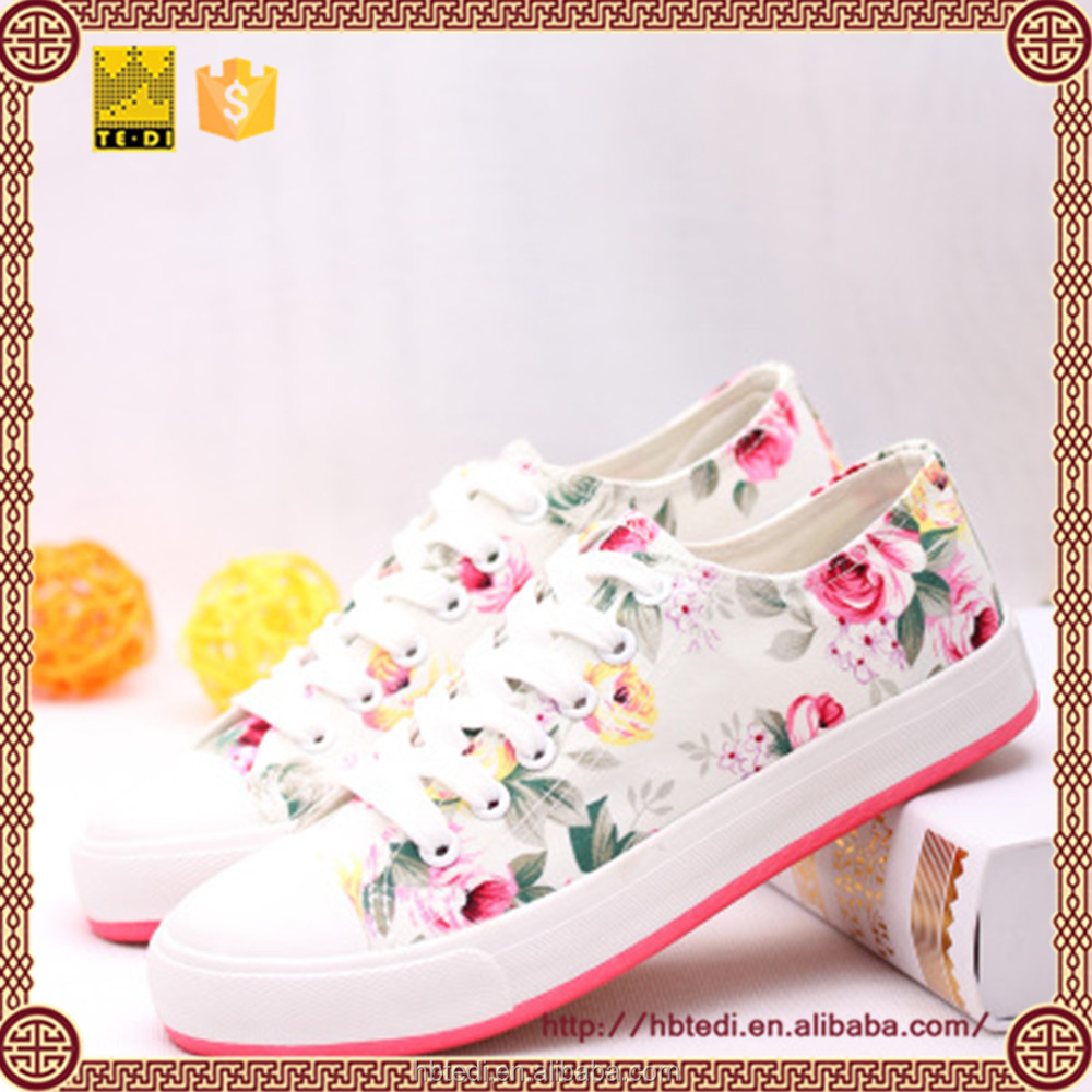 Women's Fashion Printed double color Sneaker Canvas shoes
