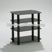 Black tempered glass lcd tv stand