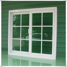 Excellent air tightness pvc sliding window with iron window grill design in color