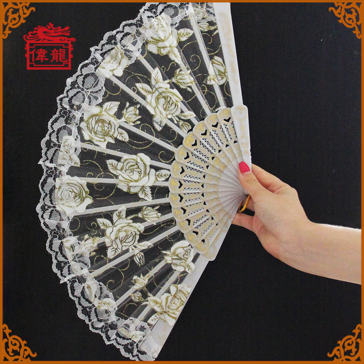 23 cm High Quality Wedding Gifts Plastic Folding Hand Fans Lace Fans GYS902