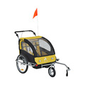 3in1 Double Child Bike Trailer and Stroller - Yellow / Black