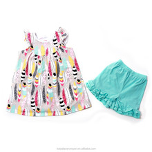 baby girls feather print pearl dress with ruffle short set,summer girls boutique outfits