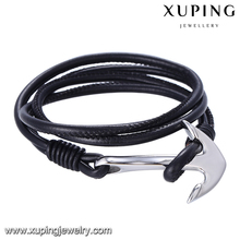 bangle-233 Xuping stainless steel leather black bracelet men, anchor bracelet, jewelry vendors