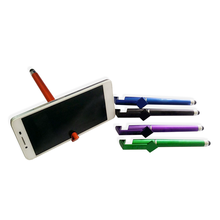 Full color printed promotional plastic ball-point pen stylus pen with phone holder