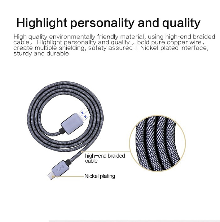 Best Nylon Braided Long Cord USB Type C Cable to USB 3.0 for Macbook Galaxy S8