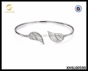 Sterling Silver Angel Wing Bracelet Feather Shape Bracelet Stackable Smart Jewelry