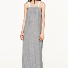 stripe tank floor length ruffle hem long dress