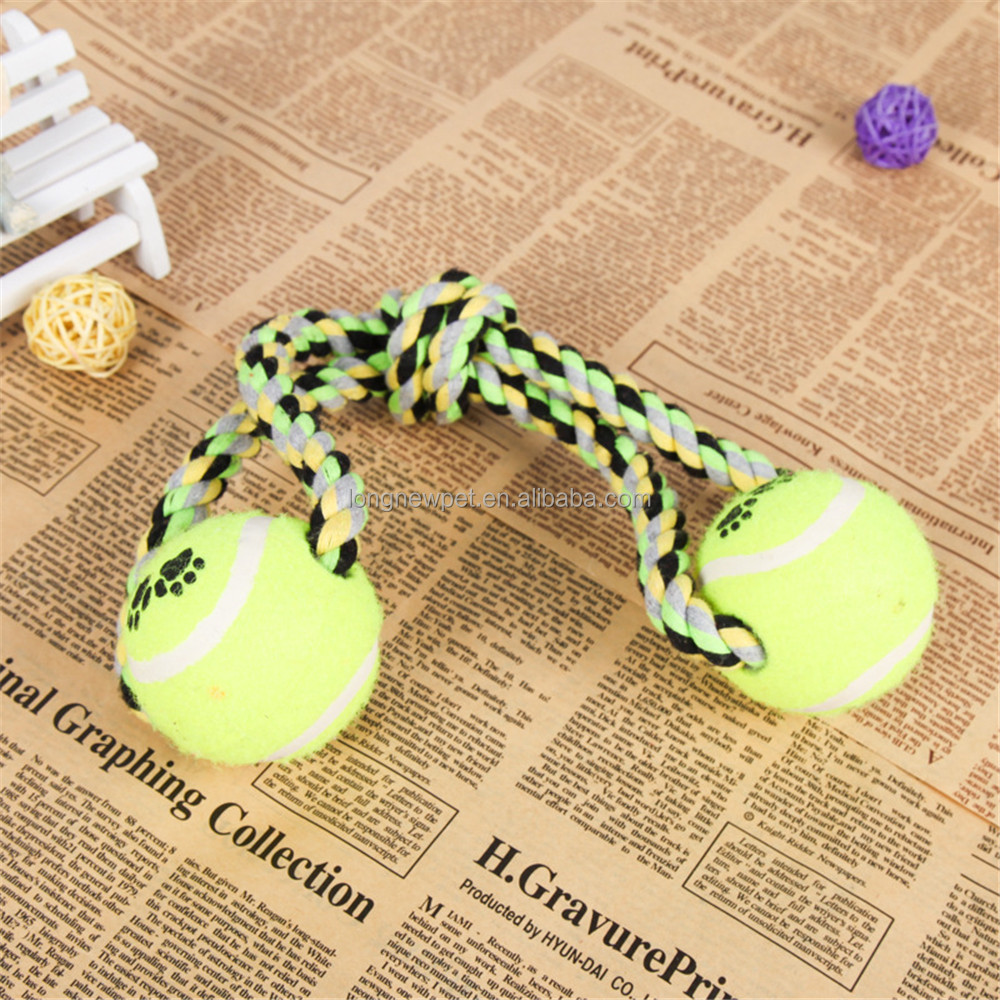 Wholesale Dog Rope Toy with Two Tennis Ball Pet Rope Chew Toy
