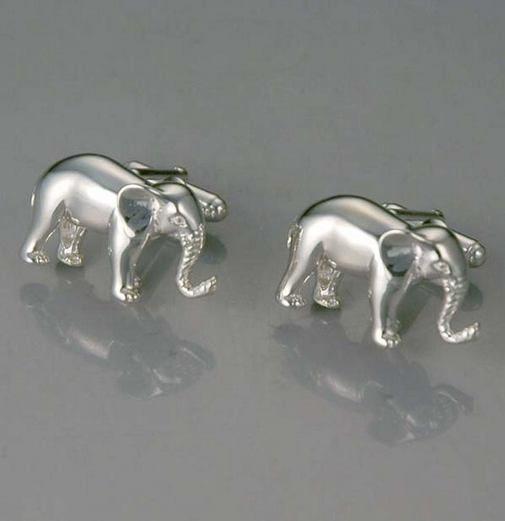 Luxury Wholesale Sterling Silver Elephant Cufflinks With Custom Logo