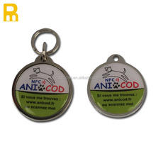 2015 new design round shape NFC dog tag with NFC chip