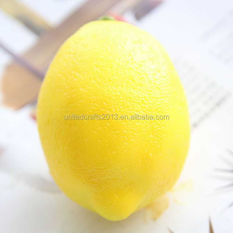 Wholesale home fake fruit decoration foam plastic yellow lemon mini artificial fruit for sale