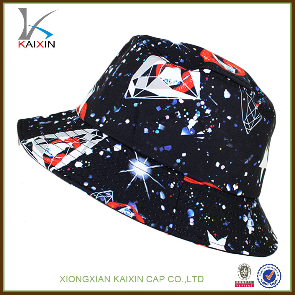 Plastic High quality kids plain bucket hats with drawstring