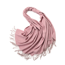 SF17215066 Elegant Pure Color Wool Cashmere Scarf Shawl Pink Purple Wrap