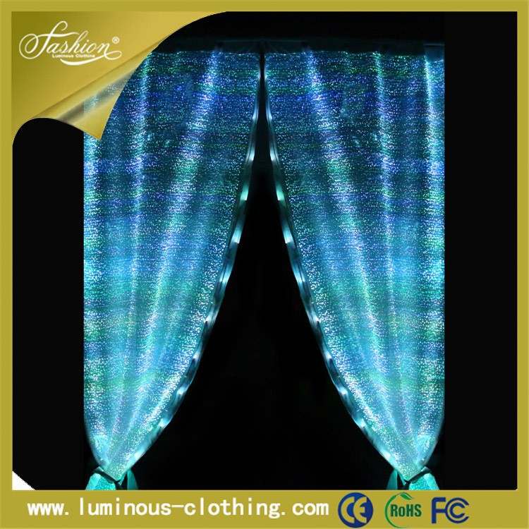 LED light embroidered sheer curtains universal remote control