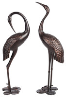 Garden Decoration Metal Craft Animal Type Bronze Crane Statue