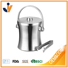 Ice Bucket, Newness Stylish Double Wall Insulated Stainless Steel Ice Bucket with Ice Tongs with Lid and Portable Handle