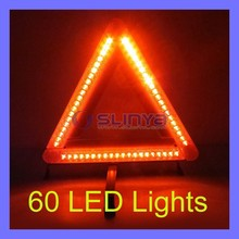43cm Side Length 60 LED Emergency Car Red LED Light Warning Triangle