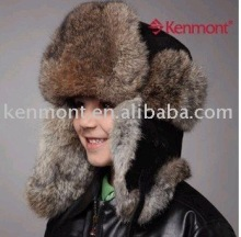 Christmas embroidery design fashion winter leather trapper hat and cap hot sell rabbit fur whole sale alibaba cap
