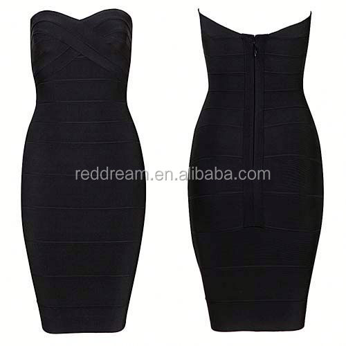 2015 The Newly Sexy Cut-out Strapless Pencil Dress neck work designs bead work