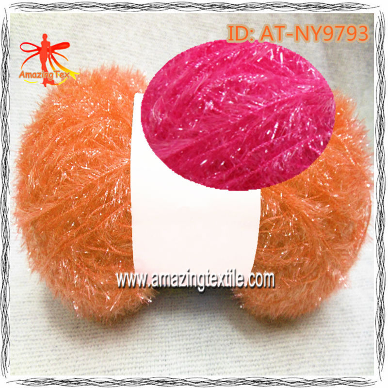 100% Polyester Ice Eyelash Lurex Yarn/Bright Feather Yarn