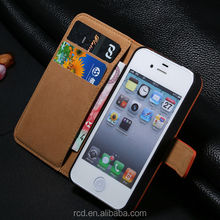 Hot Genuine Leather Side Open Case Flip Cover for IPhone 4 4S Card Slot Stand Design RCD01253