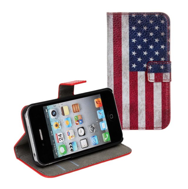 Retro Vintage Style Union Jack UK USA Flag Flip Wallet Stand Leather Pouch Cover Case for Apple iPhone 4 4S 4G
