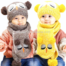 Winter Warm Cute Knitted Hat Cartoon Owl Hat Scarf Set for Toddlers