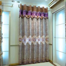 yarn-dyed floral metallic jacquard with tulle patchwork embroidered fancy window curtain fabric for house 3602-5