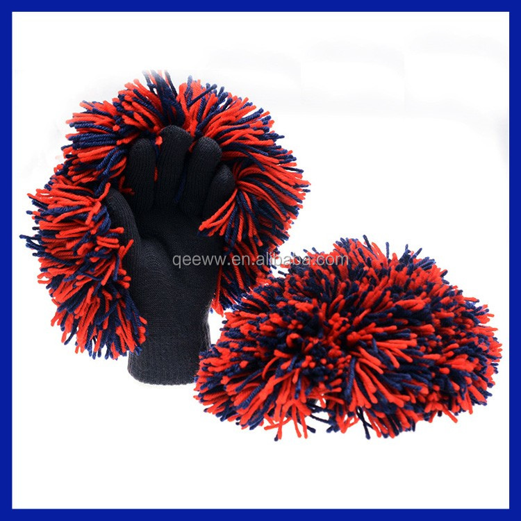 2016 World Cup soccer fans colorful knitted acrylic pom cheering gloves cheer gloves cheer mitten