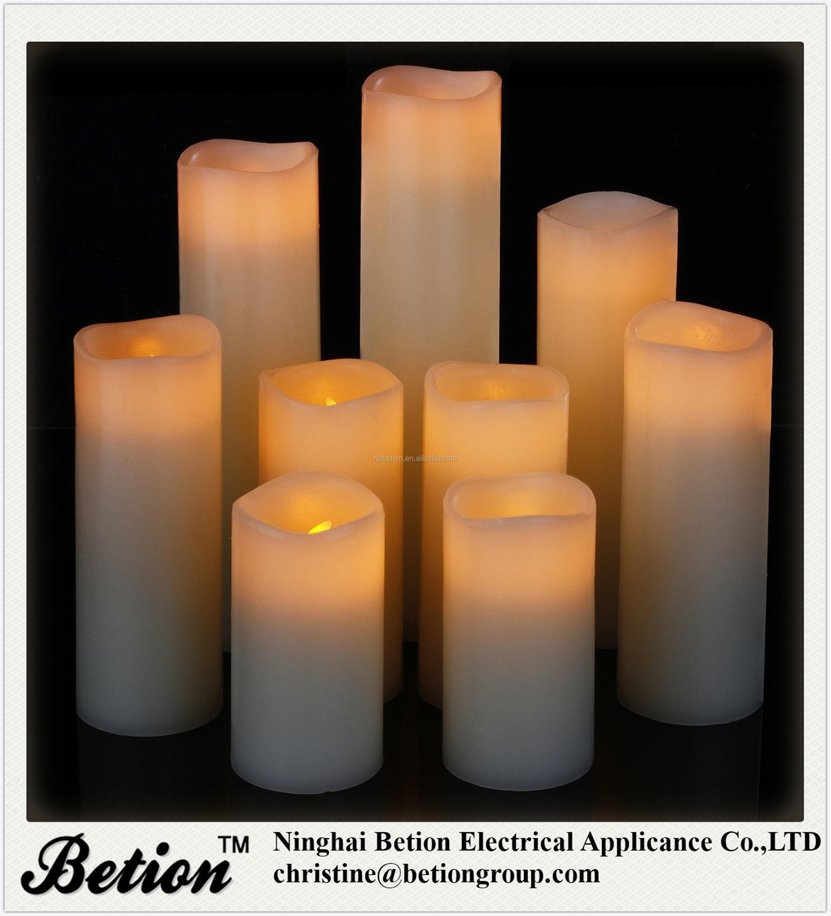"LED Candles Battery Operated Candles Set 4"" 5"" 6"" 7"" 8"" 9"" Battery Candles yellow flickering With Remote Timer"