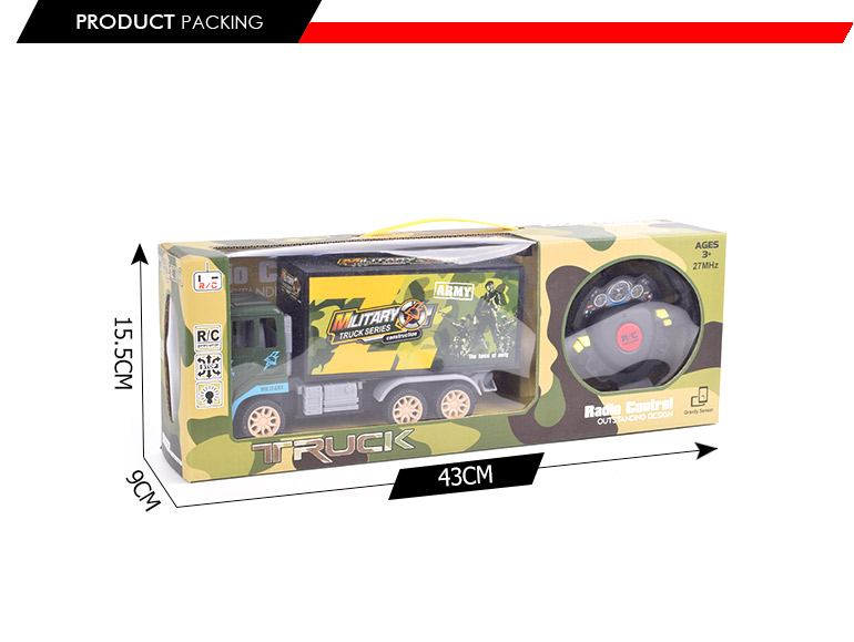 good selling 4ch rc army toy truck custom logo with gravity sensor controller
