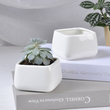 Hot sale square mini white ceramic flower pot with drainage hole