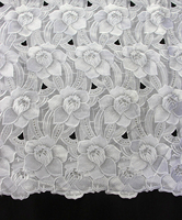 Flower dry lace fabric african wholesale plain white cotton heavy african voile lace for wedding