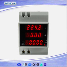LED Display Din Rail Digital Current and Voltage Meter , Ammeter Voltmeter Digital Power Meter 80-300V 200-450VAC D52-2048