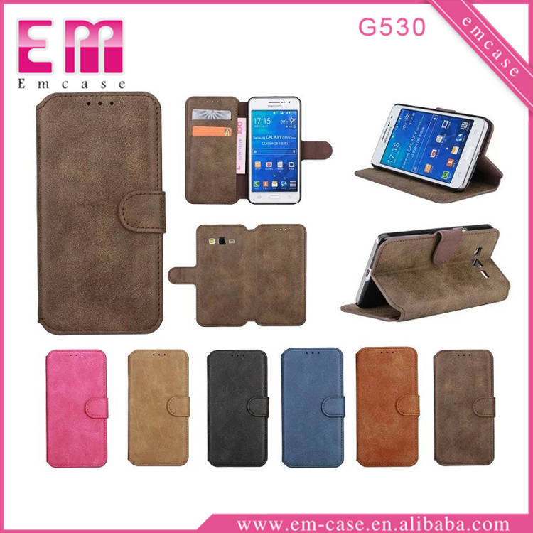 High Quality Retro Pattern Forsted Wallet Leather Case For Galaxy G530