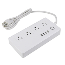 Malaysia 4 Way Extension Socket with 4 USB and Safety Shutters Individual Switch Power Strip White
