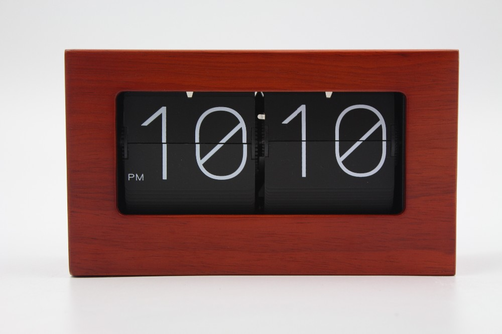 MK TIME factory clock Wooden box clock bamboo clock with flip flap
