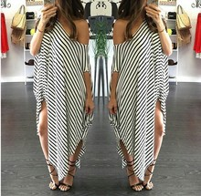 Lady Women Sexy Strapless Front Split Irregular Hem Striped Slim Party Casual long tube dress