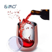 BIMO-Rose Gold Stemless Wine Glass Tumbler 12 oz Vacuum Insulated Travel <strong>Cup</strong> for Coffee, Wine Cocktails, Ice Cream ,Champagne