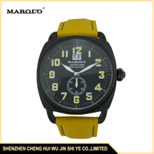 SL3056GYellow Arabic Numerals Indexes Genuine Leather Strap Curren Sport watch With Small Eye Second Hand