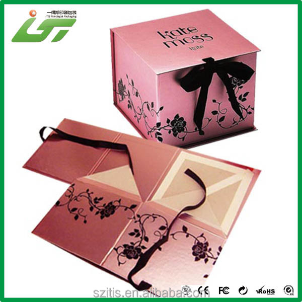 templates for paper folding box with ribbon