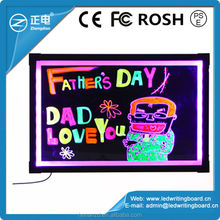 2014 new inventions advertising solution writable fluorescent lighted board