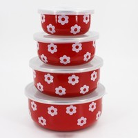 Set of 4pcs enamel cookware food storage container with plastic lids