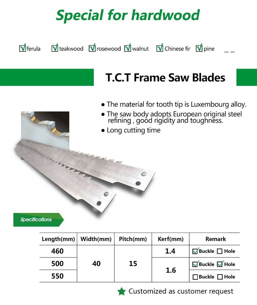 Customized TCT Frame Saw Blade for Cutting Hard Wood