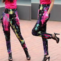 2015 new design black flower custom printed Ladies Long Pants