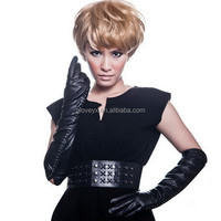 fashion alligator embossed leather women gloves dress, long gloves