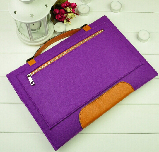 Handmade Luxury Felt Laptop Bag Laptop Case With Leather Handle