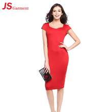 JS 20 Hot Clothing Store Wholedale Sexy Red Dress For Mature Women Casual 729